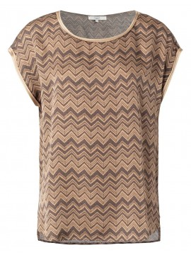 YAYA Satin top with zigzag print